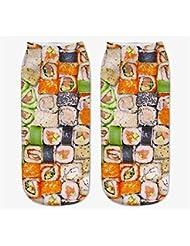 Femenina Modelos 3d de impresión Calcetines Calcetines para niños (Diseño de sushi, Amarillo)