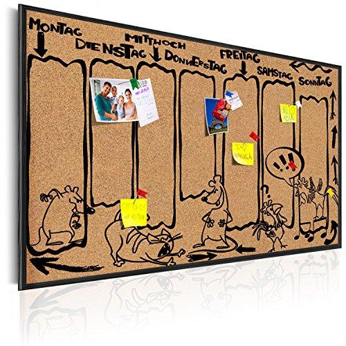 murando Pinnwand Kalender 60x40 cm Kork Bilder Holzrahmen Korktafel Korkwand Memoboard Pinboard Aufdruck - Wochenkalender Kalender Kinder Comic Zeichen i-A-0126-q-a