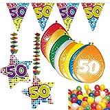 Carpeta 54-Teiliges Partydeko Set * Zahl 50 * für Mottoparty Oder 50. Geburtstag mit Girlande, Rotorspiralen, Luftschlangen und Vielen Luftballons Party Deko fünfzig Jubiläum
