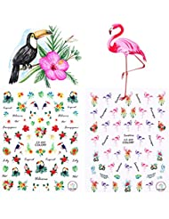 Born Pretty 2 Sheets Nail Art Sticker Flamingo Toucan Tropical Flower Bird DIY 3D Manicure Decal Adhesive Transfer Sticker