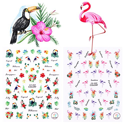 Born Pretty 2 Sheets Nail Art Sticker Flamingo Toucan Tropical Flower Bird DIY 3D Manicure Decal Adhesive Transfer Sticker