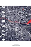 Posterlounge Acrylglasbild 120 x 180 cm: Stadt Nürnberg Karte Mitternacht von Campus Graphics - Wandbild, Acryl Glasbild, Druck auf Acryl Glas Bild