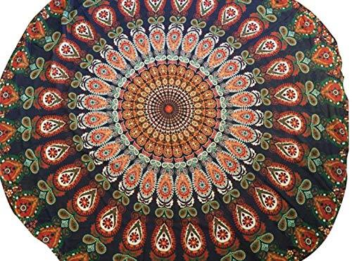 Toalla De Playa Redondo Patrón Totem Beach Mat Toalla Yoga Tippet Gasa Mantel Toalla Playa Grande Manteles Redondos Indian Tapestry Wall Hanging (D, 150 CM)