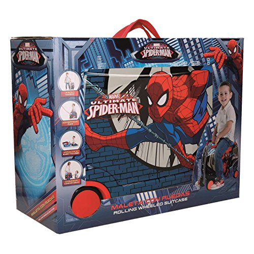 Image of Disney Genuine Ride-on Childrens ABS Hard Shell Suitcase Cabin Case Roller (02 Spiderman Comic)