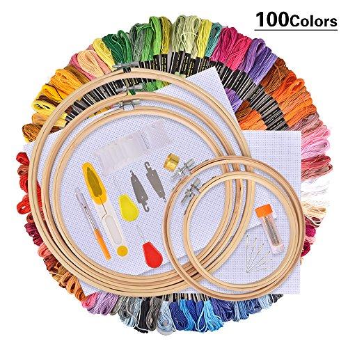 AUSHEN Stickerei Set, Stickerei Starter kit, Kreuzstich Tool Kit Einschließlich 100 Farbfäden, 5 Bambus Stickrahmen, 12 von 18-Zoll 14 Count Classic Reserve Aida und Nadeln Set -