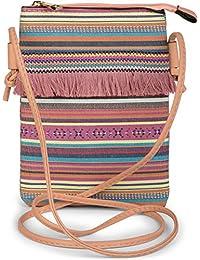 styleBREAKER Minibag Umhängetasche mit bunten Streifen und Fransen, Ethno Style, Schultertasche, Tasche, Damen 02012129