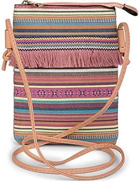 styleBREAKER Minibag Umhängetasche mit bunten Streifen und Fransen, Ethno Style, Schultertasche, Tasche, Damen...