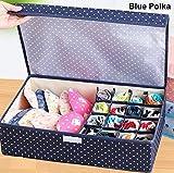 #3: SWARG Drawer Organizer,Underwear/Sock/Underpants Home Storage Box,Underwear Non-Woven Fabric Organiser Bag, (Blue Polka)