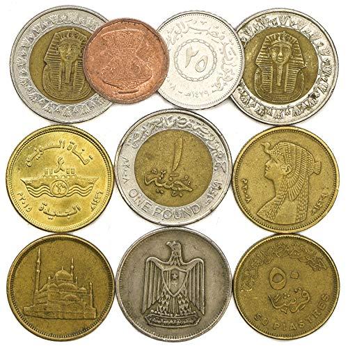 10 monedas genuinas de la República Árabe de Egipto. Estas monedas de colección no son moneda de curso legal, que significa que no puede utilizarse. Las monedas son en paquetes sellados y etiquetados con atributos egipcios y decoraciones. Estas moned...