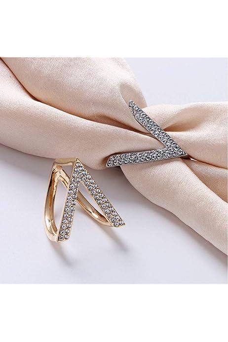 Ladies/' Scarf Shawl Ring Clip Buckle Holder Rhinestone Decorated Gold