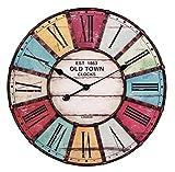 FineBuy Wanduhr XXL Ø 60 cm Old-Town Küchenuhr Vintage-Look Bahnhofsuhr modern Römische Ziffern mehrfarbig stilvoll Wohndeko Design Wohnzimmeruhr Wanddekoration elegant Designuhr groß