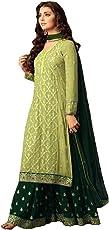 Generic Women's Georgette Fabric Sharara Suit (Green, XXXXL)