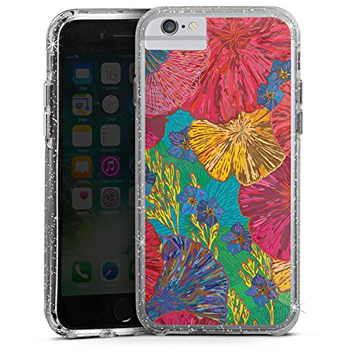 Apple iPhone 6 Plus Bumper Hülle Bumper Case Glitzer Hülle Art Kunst Flowers Bumper Case Glitzer silber