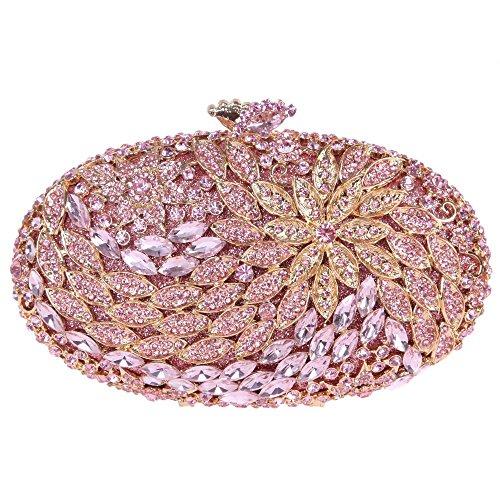 Santimon Clutch Delle Donne Forma Rotonda Borsellini Borse Da Festa di Nozze Sera Con Tracolla Amovibile e Pacco Regalo 9 Colori rosa