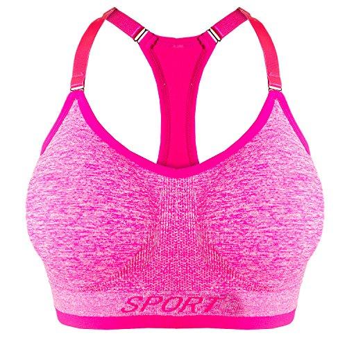 Libella Damen Bügelloser Sport-BH mit verstellbaren Trägern Gepolsterte Cups entfernbar 3714 Neon-Pink L/XL