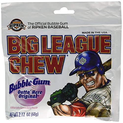 Big League Chew, Outta' Here Original Bubble Gum, 2.12-Ounce Pouches (Pack of 12) (Big Gum League)
