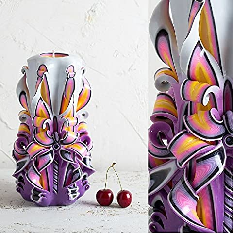 Purple Hand Carved Candle - Decorative Handmade - Vanity Lighting - DIY Candlemaker - EveCandles
