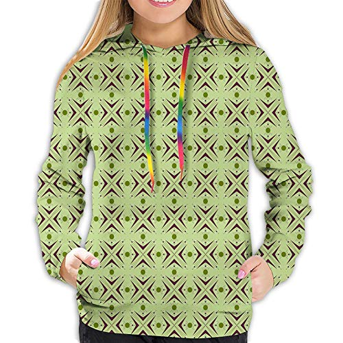 KAKALINQ Women\'s Hoodie Sweatshirt,Atomic Form with Boomerang Details Dots and Crossed Lines,XXL