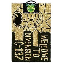 Rick y Morty Bienvenido a Dimensión C-137'Felpudo, fibra de coco, negro, 60x 40x 1,5cm