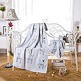 JUNHONGZHANG 3 Stück Rotwild Gaze Drucken Handtuch Set Erwachsene 100% Baumwolle Handtuch Quick Dry Maschinenwäsche Strand Badetuch Home Handtuch, Blau