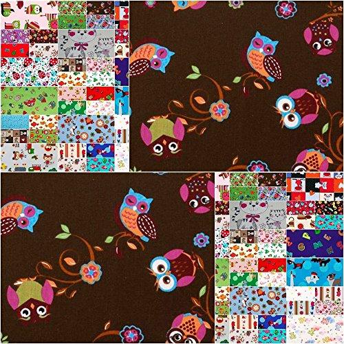 DIE NÄHZWERGE Baumwollstoff Motivkollektion [KINDERDRUCKE/Prints] - Meterware ab 50cm, in 28 Tollen Farben & Motiven | 100% Baumwolle, Cotton - Zum Nähen, Quilten & Patchworken (Eule 2 Braun)