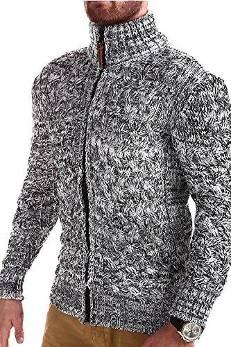 MT Styles Strickjacke mit Stehkragen Pullover E-9000 Weiß