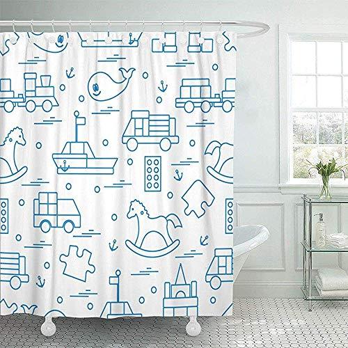 Duschvorhänge / Badvorhänge, Fabric Shower Curtain Hooks Nursery Kids Toys Train Puzzle Designer Boat Car Whale Activity Baby Blocks Boy Decorative Bathroom Treated to Resist Deterioration Mildew -