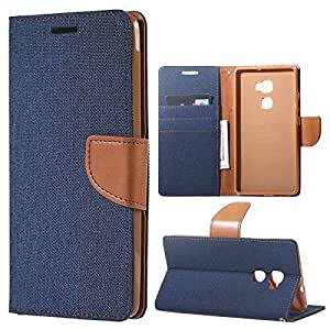 Aart Fancy Wallet Dairy Jeans Flip Case Cover for LenovoA-6000 (NavyBlue) By Aart Store