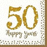 16 glitzernde Servietten * 50 - HAPPY YEARS * in Sparkling Gold zum 50. Geburtstag, Goldene Hochzeit oder Jubiläum // Party Set Papierservietten