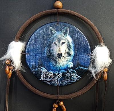 Wolf Dreamcatcher, Wolf Sprit Overlooking Pack, Small