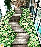 XLi-You 3D Tapete Fresko 3D-Oberfläche Selbstklebend Blumen Holz Bodenfliesen Der Kleine Balkon Über Flur Wc Wasser-Resistent Rutschfeste Oberfläche Wandmalerei Hintergrundbild 300cmX220cm