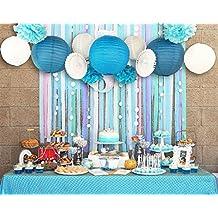 SUNBEAUTY Serie de Mar azul Abanico Farol de papel Casa Fiesta Boda Bolas Pom Pom Decoración para colgar cumpleaños fiestas San Vlentines festival