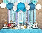 SUNBEAUTY Serie de Mar azul Abanico Farol de papel Casa Fiesta Boda Bolas Pom Pom Decoración para colgar cumpleaños fiestas San Vlentines festival(Azul)