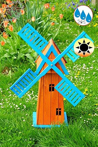 Holz Windmühle-4eckig groß, klassische Gartenwindmühle 100 cm, E6CK100-hbl-MS HELLBLAU KLASSIK MIT BALKON-Rand Fenster, voll funktionstüchtig,schöne Details, Fensterkreuz Deko-Windmühlen Outdoor, Windfahne / Windrad komplett mit Solar, Solarbeleuchtung DOPPEL-SOLAR LICHT 1 m groß, blau mittelblau hellblau neonblau himmelblau Flügel - Leisten blauer Korpus unten, für Innen- und Außenbereich, Balkon, Garten und Terrasse, wunderschöne Gartenzierde