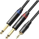 TISINO Câble Audio 3.5mm vers Double 6.35mm, 2 x 6.35 Mâle vers 3.5 Mâle Mono Y Splitter Jack Câble d'Instrument pour Haut-pa