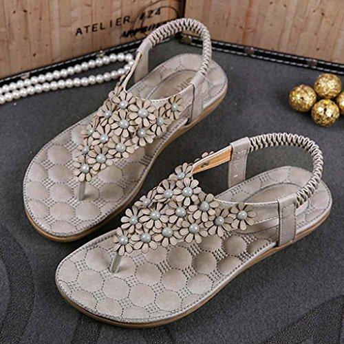 Amlaiworld 2016 Damen Mode süßen Perlen Wohnungen Clip Toe Badeschuhe Grau