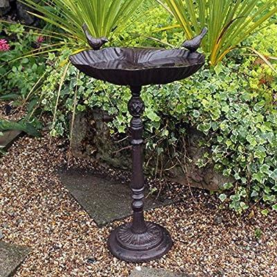 Natures Market BFCAST2 Large Cast Iron Standing Bird Bath, Transparent, 29 x 33.5 x 14.5 cm by Bonnington Plastics