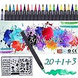 Brush Pen Set Alviller 24-in-1 Pinselstifte Set mit 20 Aquarell Farben, 1 Wassertankpinsel, 3...