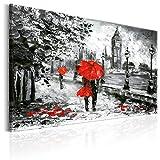murando - Bilder 120x80 cm - Leinwandbild - 1 Teilig - Kunstdruck - Modern - Wandbilder XXL - Wanddekoration - Design - Wand Bild - London Grau Rot Wie Gemalt d-B-0158-b-a