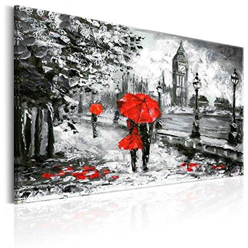 murando - Bilder 120x80 cm Vlies Leinwandbild 1 TLG Kunstdruck modern Wandbilder XXL Wanddekoration Design Wand Bild - London grau rot wie gemalt d-B-0158-b-a