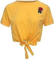 Fancyku Women's Rose Embroidery Summer Tees Tie Front Crop Top