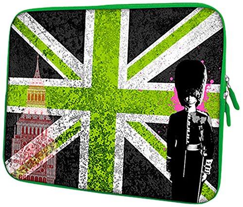 PEDEA Design Schutzhülle Notebook Tasche bis 13,3 Zoll (33,7cm), Green Union Jack