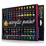 Colore Set di vernice acrilica -Perfetto per dipingere su tela, creta, tessuto, nail art e ceramica -Ricchi di pigmenti di lunga durata -Ideale per principianti, studenti e artisti -24 colori
