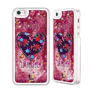 Head Case Designs Floral Heart Patches Hot Pink Liquid Glitter Case Cover for Apple iPhone 5 / 5s / SE