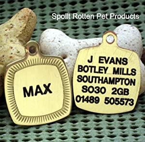 Quality Engraved Solid Brass Square Dog Identity Tag - Please Write Engraving Required in The Gift Note Box - This Appears on the WRAP Page During Checkout from Pet Tag Engraving