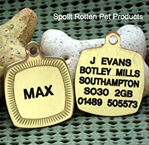 Spoilt Rotten Pets© Brass Square Framed Pet Tag Please Write Engraving Required in The Gift Note Box - This Appears on the WRAP Page During Checkout