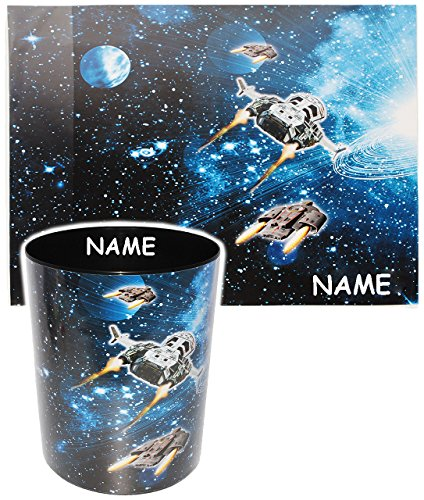 2 TLG. Set _ Schreibtischunterlage & Papierkorb -  Weltraum - Space - Raumschiff  - incl. Name - Schreibtischset - aus Kunststoff - Mülleimer / Eimer - Tisc..