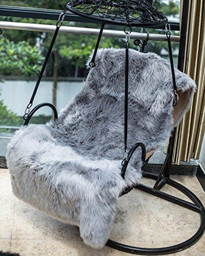 HLZDH oveja de piel sintética Felpudo alfombra Antideslizante Lujosa Suave Lana artificial Alfombra para salón dormitorio baño sofá silla cojín (150 X 50 CM, Rectangular Gris)