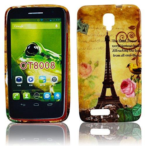 Alcatel One Touch Scribe HD Silikon LA TOUR PARIS EIFFELTURM Design Schutz Handy Hülle Case Tasche Etui Bumper thematys® (Alcatel One Touch Fall Paris)