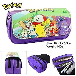 Estuche para lápices de Pokemon con dos compartimentos, color morado